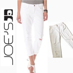 EUC joe's slouchy highwater white skinny jeans